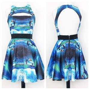 milly • surfs up wave cutout fit flare aline dress
